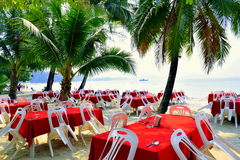 Openair restaurant. Koh Chang openair beach restaurant sea view Royalty Free Stock Image