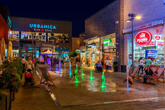 Openair shopping center at evening in Ashdodo, Israel. Stock Images