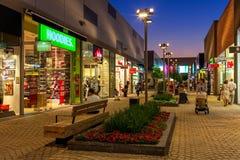 Openair shopping mall at evening in Ashdodo, Israel. Stock Photo