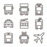 Openbaar die vervoerpictogrammen op witte achtergrond worden geïsoleerd stock illustratie