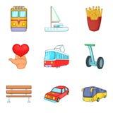 Openbaar geplaatste vervoerpictogrammen, beeldverhaalstijl vector illustratie