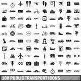 100 openbaar geplaatste vervoerpictogrammen, eenvoudige stijl stock illustratie
