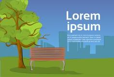 Openbaar Park in Avond met Houten Bank onder Boom en Silhouetstadsmening vector illustratie