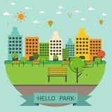 Openbaar park in de stad vector illustratie