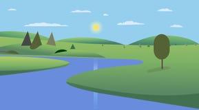Openbaar park met bomen, heuvels en hemel achtergrondontwerp De rivier van de landschapsmening met park en wolkenkrabbersvector royalty-vrije illustratie