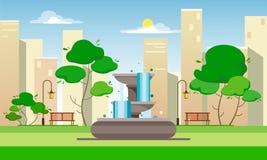 Openbaar park met een fontein, banken, lantaarns en bomen tegen de achtergrond van de stad en de wolkenkrabbers Vlakke stijlillus vector illustratie