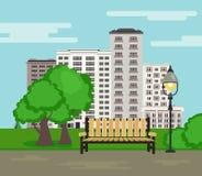 Openbaar park op de achtergrond van het stadslandschap in vlakke stijl royalty-vrije illustratie