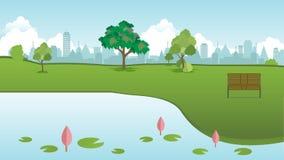 Openbaar park in stad met houten bank en lotusbloemmeer voorvector vector illustratie