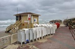 Openbaar strand dat voor de winter wordt gesloten Royalty-vrije Stock Foto's