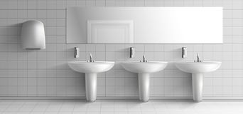 Openbaar toilet binnenlands realistisch vectorprototype royalty-vrije illustratie
