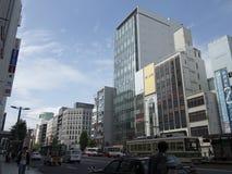 Openbaar vervoer op de straten van Hiroshima Stock Foto's
