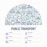 Openbaar vervoerconcept in halve cirkel royalty-vrije illustratie