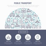 Openbaar vervoerconcept in halve cirkel stock illustratie
