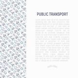 Openbaar vervoerconcept met dunne lijnpictogrammen vector illustratie