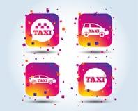 Openbaar vervoerpictogrammen De bellentekens van de taxitoespraak royalty-vrije illustratie