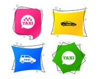 Openbaar vervoerpictogrammen De bellentekens van de taxitoespraak Vector vector illustratie