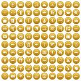 100 openbaar vervoerpictogrammen geplaatst gouden stock illustratie