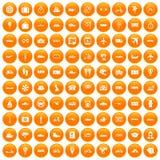 100 openbaar vervoerpictogrammen geplaatst oranje vector illustratie