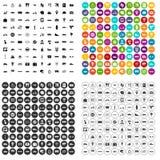 100 openbaar vervoerpictogrammen geplaatst vectorvariant royalty-vrije illustratie
