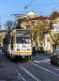 Openbaar vervoersnetwerk van bussen, trams en trolleybussen in Buc Stock Fotografie