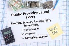 Openbaar Voorzieningsfonds een Indische Investeringsregeling met Drievoudig Vrijgesteld Voordeel royalty-vrije stock afbeelding
