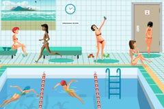 Openbaar zwembad binnen met blauw water vector illustratie