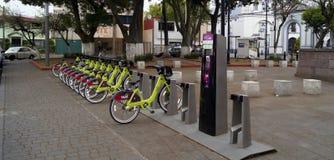 Openbare fietsen in Toluca Mexico Stock Foto's