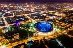 Openbare gebeurtenis die bij hoofdstadion wordt gehouden De voetbaltrefpunt van Minsk stock fotografie
