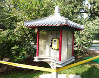 Openbare telefoon in park Stock Foto's