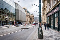Openbare transportatıon ın Praag, Tsjechische Republiek Stock Foto