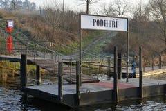Openbare Vervoer van Praag - Haven van Veerboot op Vltava-Rivier, Tsjechische Republiek, Europa Stock Foto