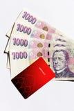 Opencard en geld Stock Foto's
