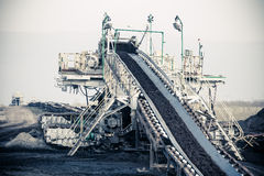 Opencast brown coal mine. Belt conveyor. Open pit. Opencast brown coal mine. Belt conveyor as industrial detail stock photos