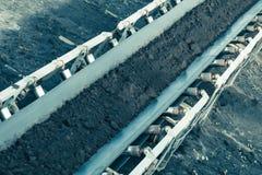 Opencast brown coal mine. Belt conveyor. Royalty Free Stock Photos