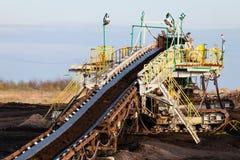 Opencast brown coal mine. Belt conveyor. Stock Image