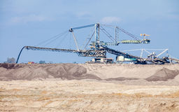 Opencast brown coal mine. Giant excavator. Stock Photography