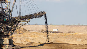Opencast brown coal mine. Giant excavator. Stock Photos
