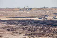 Opencast brown coal mine. Open pit. Royalty Free Stock Photo