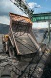 Opencast mine. Big yellow mining truck unload iron ore Royalty Free Stock Image