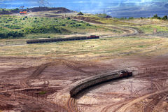 Opencast mine excavator and railway Royalty Free Stock Images