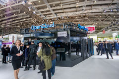 OpenCloud stand in booth of Huawei company at CeBIT Royalty Free Stock Photo
