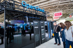 OpenCloud stand in booth of Huawei company at CeBIT Stock Image
