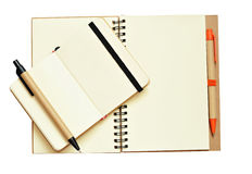 Opend notebooks and pens Royalty Free Stock Photography