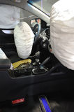 Opened airbag. In the car stock photo