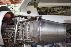Opened aircraft engine. In the hangar Royalty Free Stock Photo