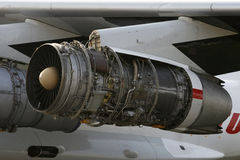 Opened aircraft engine D-30KP-2 Royalty Free Stock Images