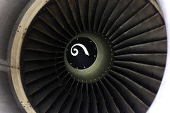 Opened aircraft engine in the hangar Stock Images
