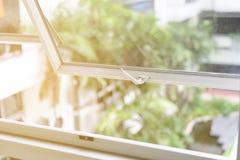 Opened aluminium window stock photos