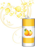 Opened aluminum can with fruit lemonade Stock Images