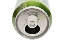 Opened aluminum can for soft drinks Stock Images